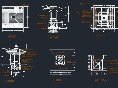 四角凉亭设计图