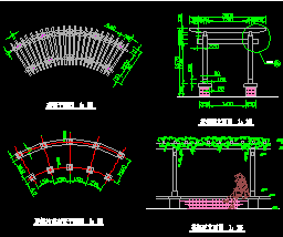 双柱花架施工详图