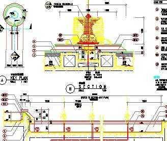 园林工程喷泉剖面图