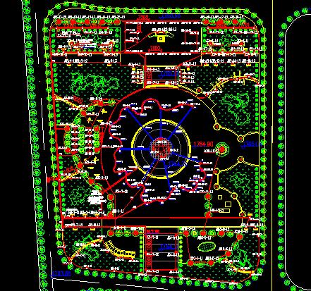 某文化廣場景觀照明設計平面圖