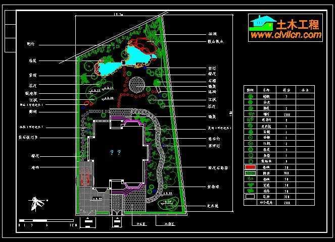 别墅庭院景观平面图