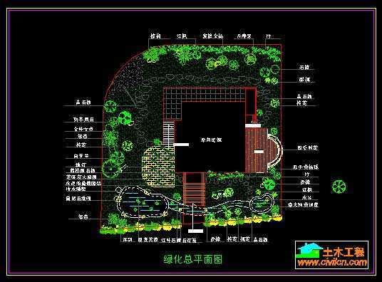 某山庄别墅绿化景观布置总平面图免费下载