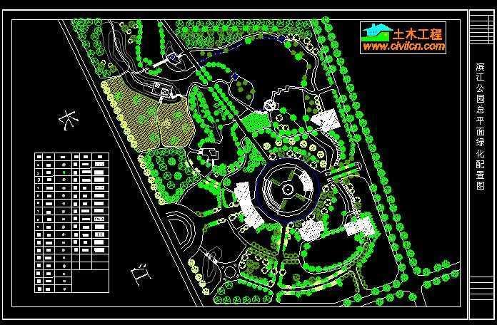 滨江公园植物配置总平面图免费下载