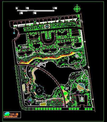 小区绿化植物配置设计图纸免费下载