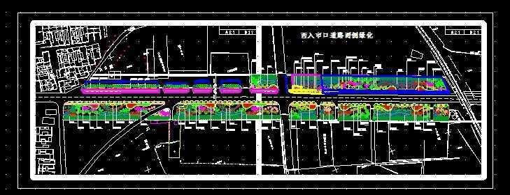 道路两侧绿化平面图