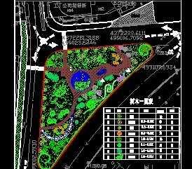 某街头小游园绿化设计平面图免费下载 园林绿化及施工图片
