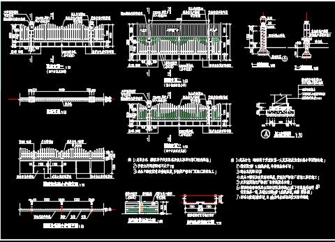 大门围墙设计详图