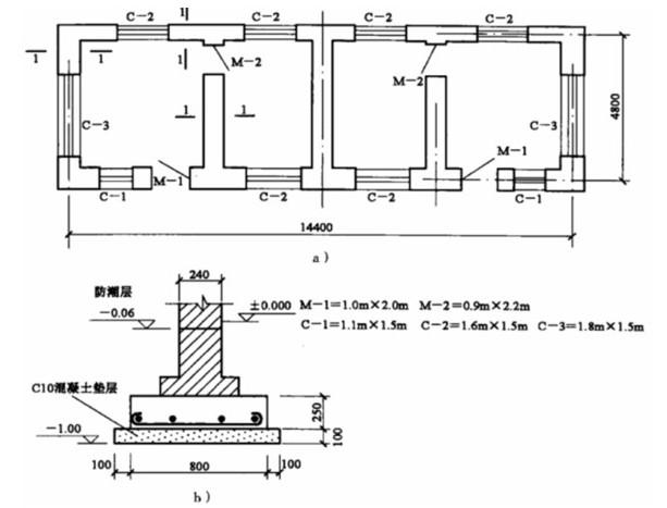 某小型住宅平面图和基础剖面图 a)平面图 b)剖面图