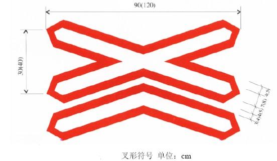 路道口设置叉形符号