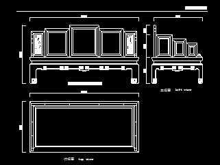 清红木嵌大理石罗汉床设计图免费下载-图纸家具尺寸绘图纸a1图片