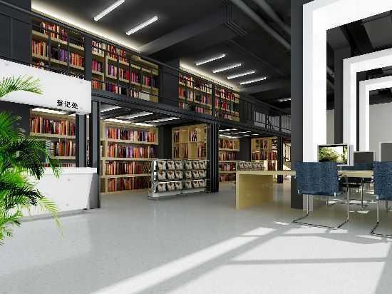 现代中式书房图书室方案效果图图片