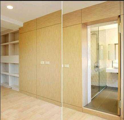 主卧衣柜主卧卫浴空间做隐藏式的门扉设计,与衣柜作整体的规划,维持线图片