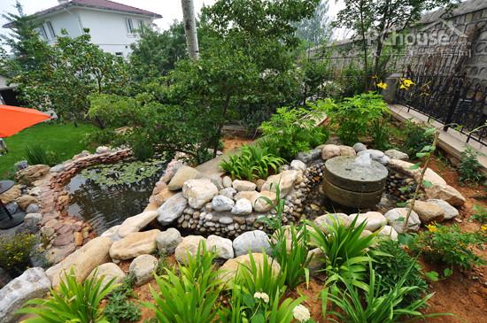 曲线异性的水景,配以中式的叠石景观.图片