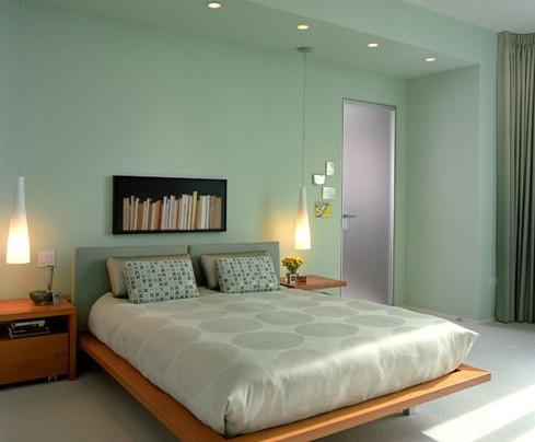 冷色调卧室欧式装饰效果图