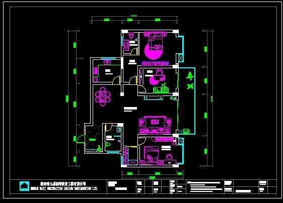 两室两厅cad平面布置图 高清图片