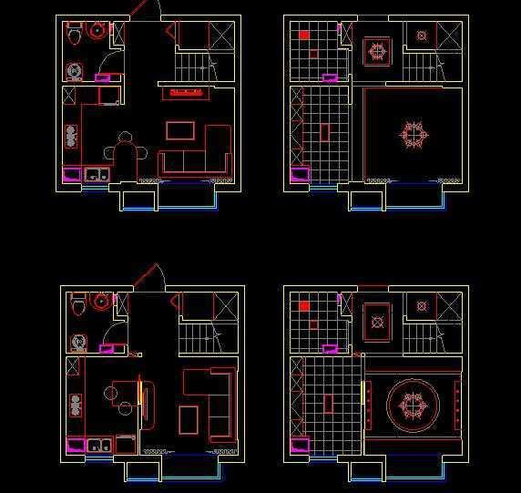 小户型跃层精装修平面设计方案免费下载 - 装修图纸