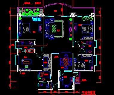 某大户型住宅室内设计平面图免费下载