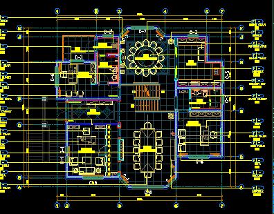 二层欧式别墅装修施工图纸(含效果图)