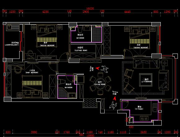 三居室住宅室内装修设计图纸(含水电施工实图)免费